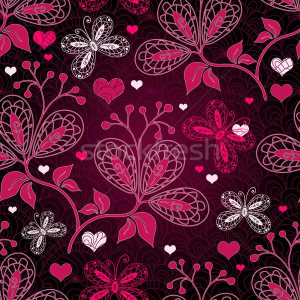 Seamless valentine floral pattern Stock photo © OlgaDrozd