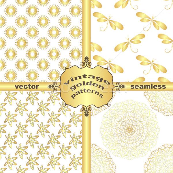 Szett klasszikus arany minták keret vektor Stock fotó © OlgaDrozd