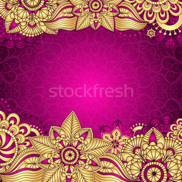 Gold Purple Vintage Frame Stock photo © OlgaDrozd