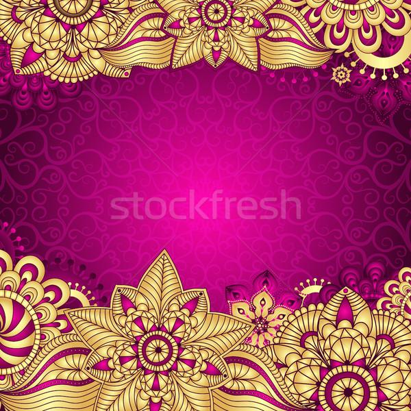 Ouro roxo vintage quadro gradiente flores Foto stock © OlgaDrozd