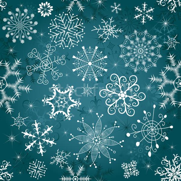 Christmas blue seamless tracery Stock photo © OlgaDrozd