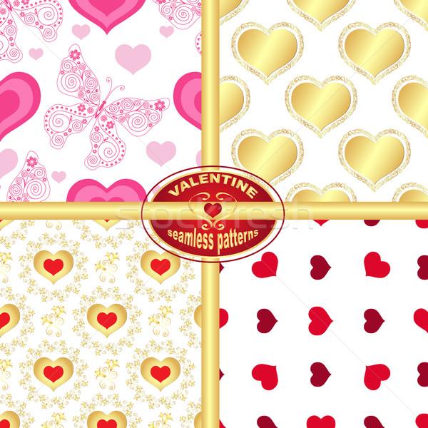 Establecer sin costura San Valentín patrones corazones mariposas Foto stock © OlgaDrozd