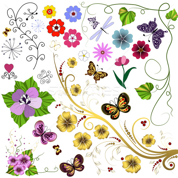 Set abstract handwork flowers and butterflies  Stock photo © OlgaDrozd