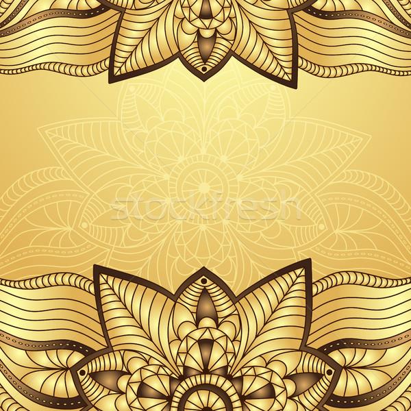 Klasszikus keret arany virágok vektor eps10 Stock fotó © OlgaDrozd
