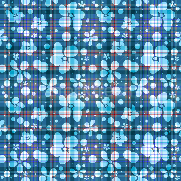 Repeating blue checkered floral pattern Stock photo © OlgaDrozd
