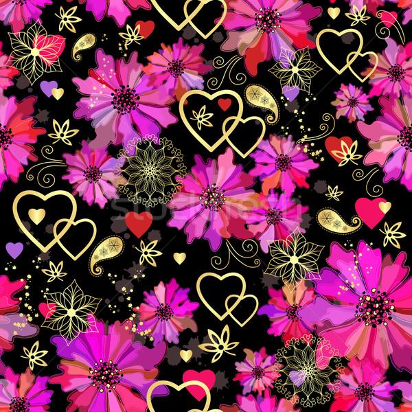 Stockfoto: Valentijn · naadloos · donkere · patroon · grunge