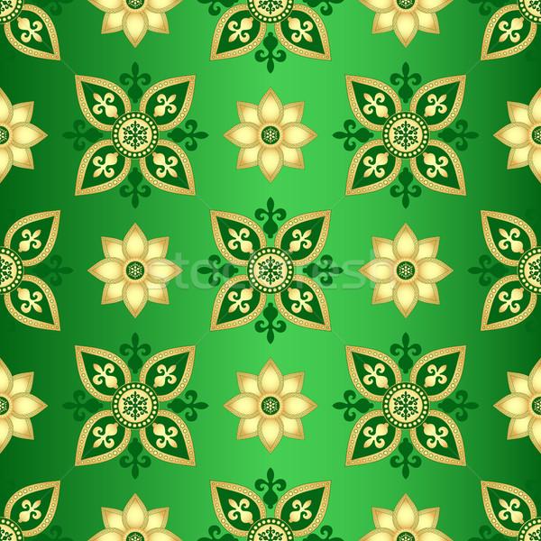 Naadloos donkere groene helling patroon goud Stockfoto © OlgaDrozd