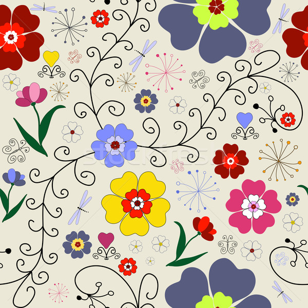Seamless floral pattern with chaotic flowers Stock photo © OlgaDrozd