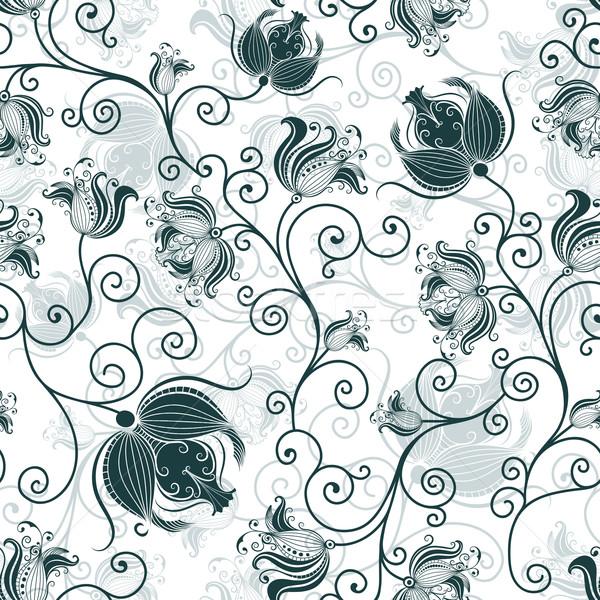 Seamless white-dark-green floral pattern Stock photo © OlgaDrozd