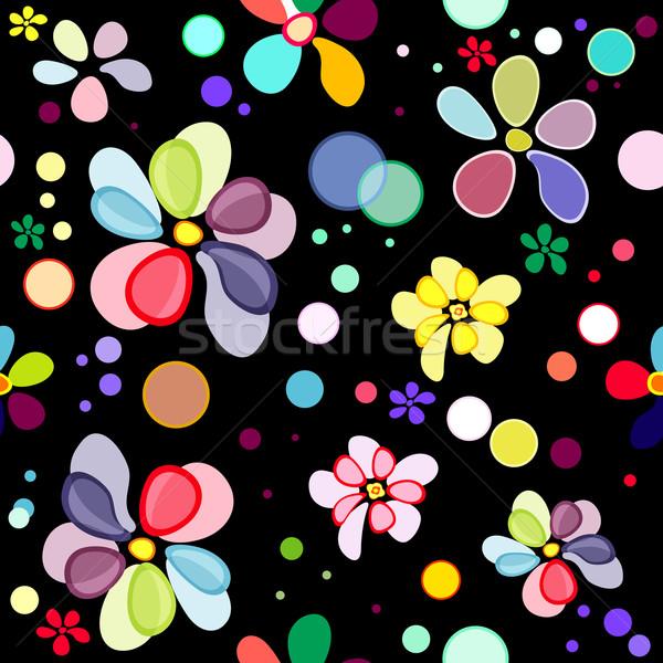 бесшовный цветочный черный шаблон деформированное яркий Сток-фото © OlgaDrozd