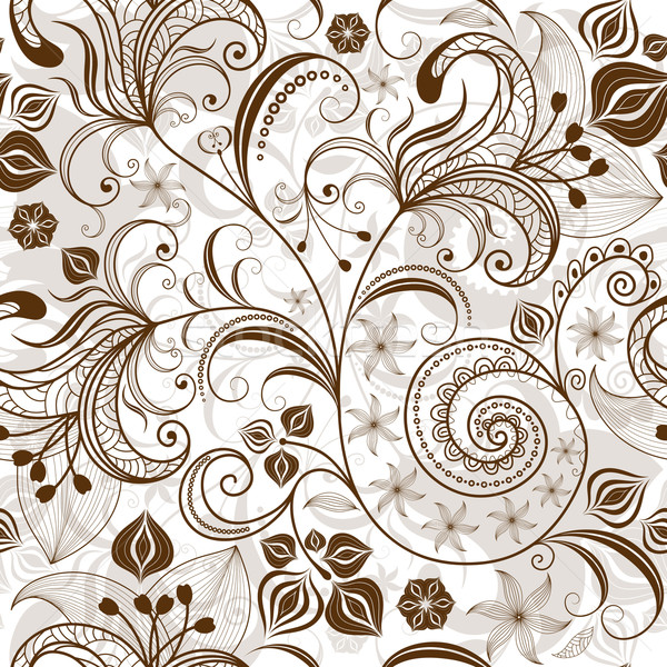Repeating white-brown floral pattern Stock photo © OlgaDrozd