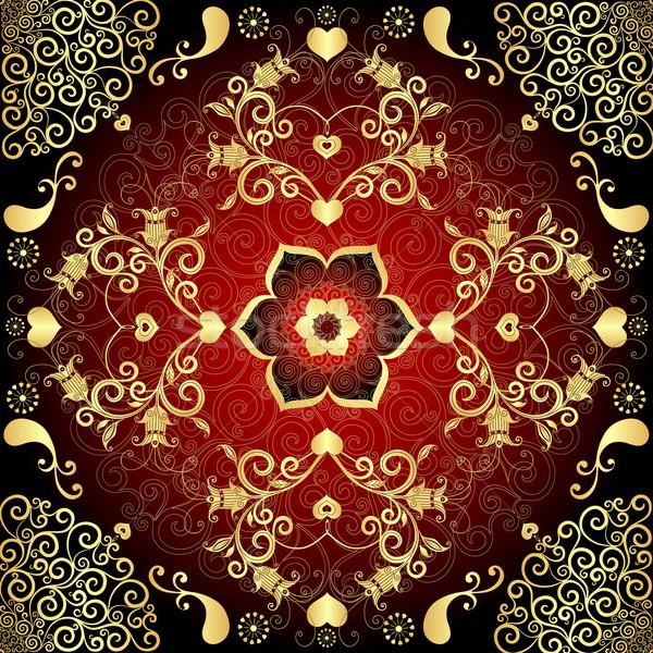 Valentin nap keret dekoratív klasszikus minták vektor Stock fotó © OlgaDrozd