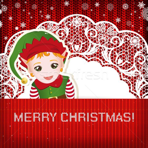 Noel süslemeleri el yapımı örgü kâğıt mutlu Stok fotoğraf © OlgaYakovenko