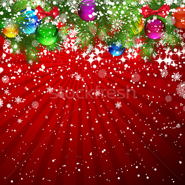 Christmas background with snow-covered branches of Christmas tre Stock photo © OlgaYakovenko