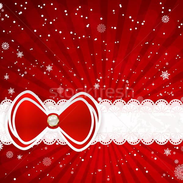Рождества лук природы краской снега красный Сток-фото © OlgaYakovenko