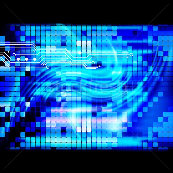 Kék fény techno mozaik terv űr Stock fotó © OlgaYakovenko