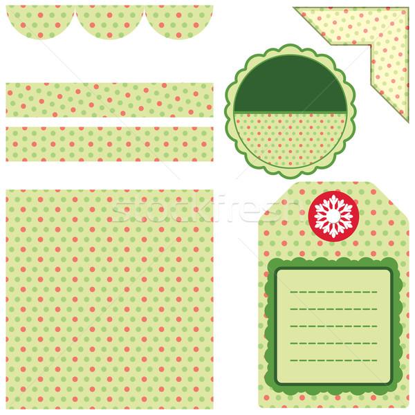 Stok fotoğraf: Dizayn · elemanları · karalama · defteri · yeşil · ayarlamak · büyük