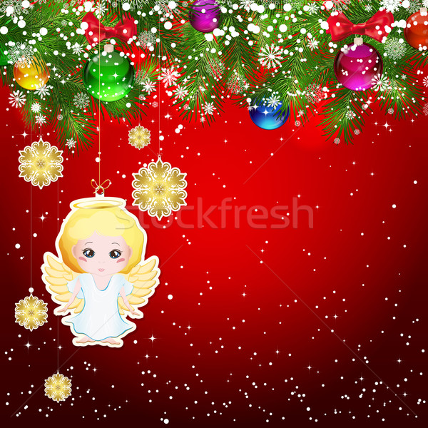 Christmas background with Christmas tree branches decorated with Stock photo © OlgaYakovenko