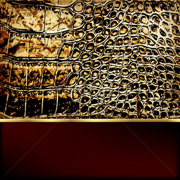 Leather background with golden elements. Vector. Stock photo © OlgaYakovenko