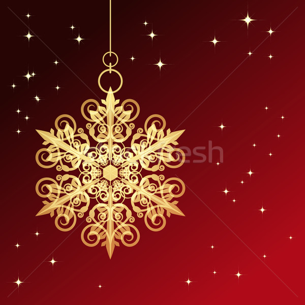 Red card with christmas snowflake, vector illustration Stock photo © OlgaYakovenko