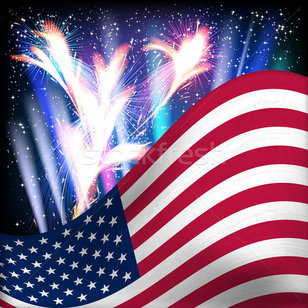 USA zászló tűzijáték éjszaka csillagos ég vektor Stock fotó © OlgaYakovenko