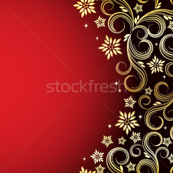 vintage floral background red and gold vector illustration
