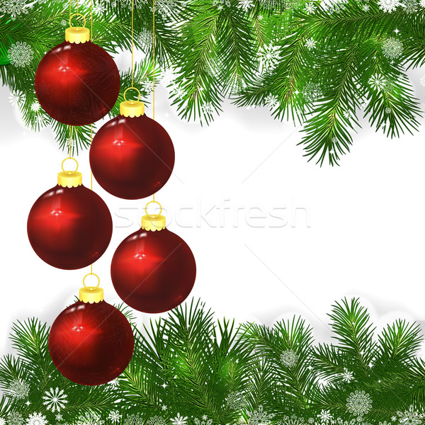 Christmas background with Christmas balls and green branches of  Stock photo © OlgaYakovenko