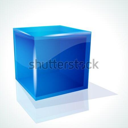 Stock photo: blue cube on white background