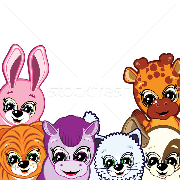 Image of Border made of cute little animals smiling Stock photo © OlgaYakovenko