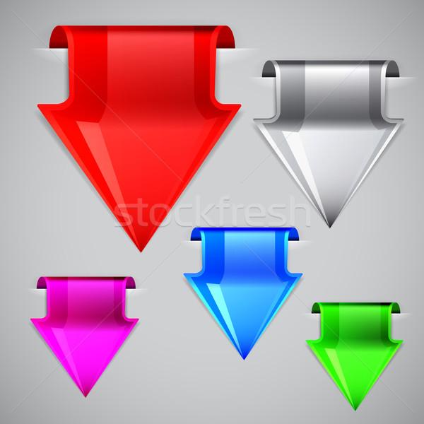 Etiketler biçim ok vektör ayarlamak dizayn Stok fotoğraf © OlgaYakovenko