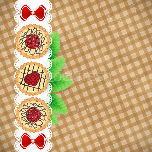 甘い クッキー ヴィンテージ テーブルクロス 戻る ストックフォト © OlgaYakovenko