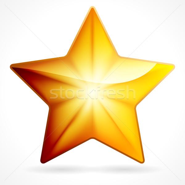 Dorado estrellas icono blanco eps 10 Foto stock © OlgaYakovenko