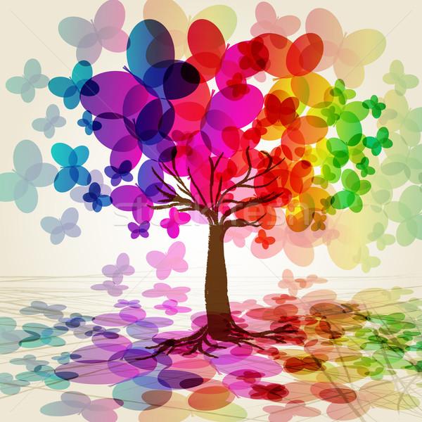 аннотация красочный дерево иллюстрация бабочка свет Сток-фото © OlgaYakovenko