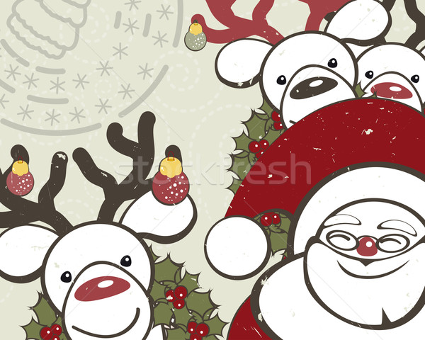 Christmas background with funny reindeers and Santa Claus. Stock photo © OlgaYakovenko