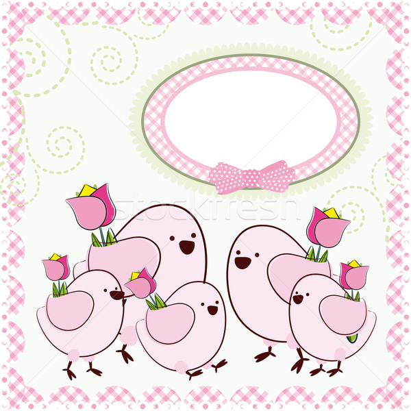 Mother's Day. Background with cartoon birds. Stock photo © OlgaYakovenko