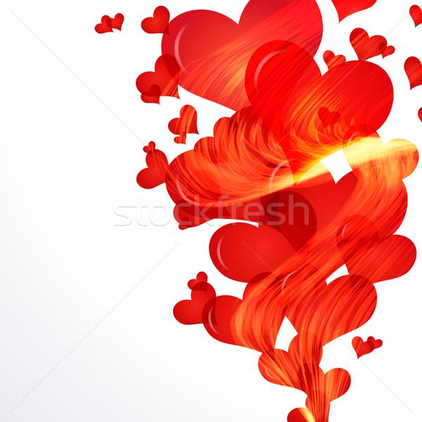 ストックフォト: 燃えるような · 心 · フライ · アップ · サイド · 国境