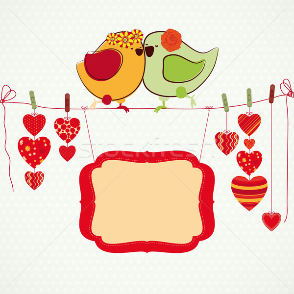 Couple of birdies, hearts on the clothespin and a banner for you Stock photo © OlgaYakovenko