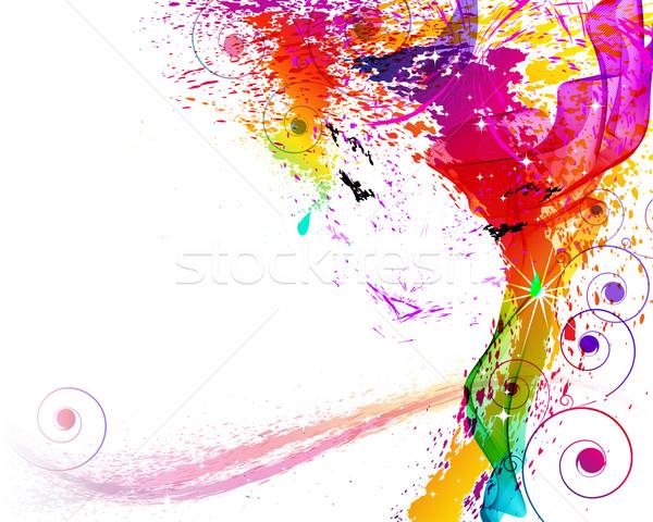 Vector illustration. Female face consist of grange element Stock photo © OlgaYakovenko
