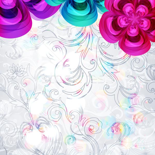 Abstract frumos floare vector acoperi sablon hârtie Imagine de stoc © OlgaYakovenko