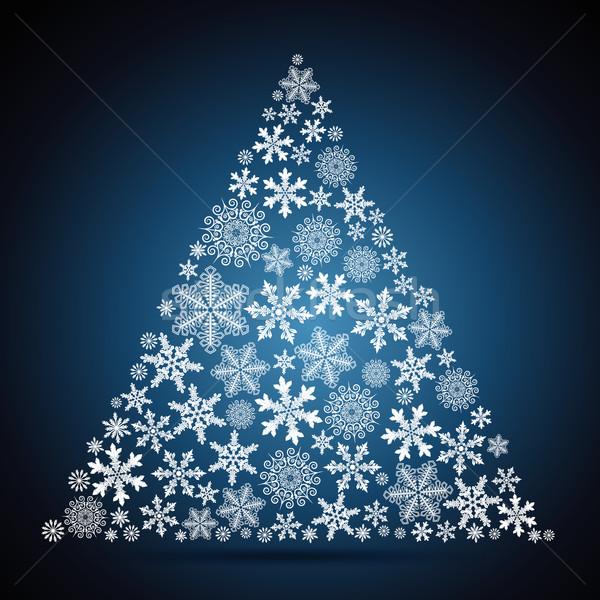 Сток-фото: рождественская · елка · снежинка · дизайна · дерево · аннотация · фон