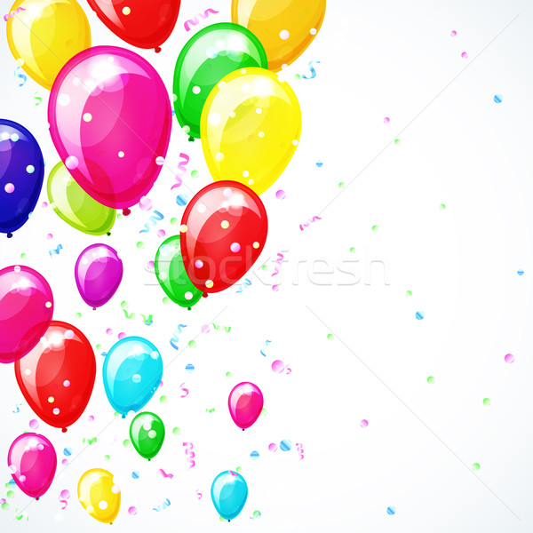 Holiday vector background with balloons and confetti. Stock photo © OlgaYakovenko