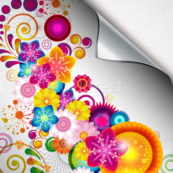 Stock photo: Torn floral background for gift design. Bright decor with abstra