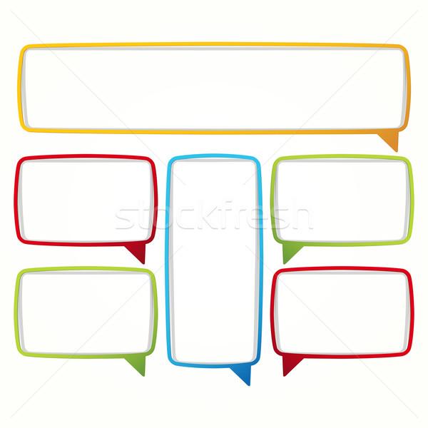 Farbenreich Sprechblase Frames Etiketten Form leer Stock foto © OlgaYakovenko