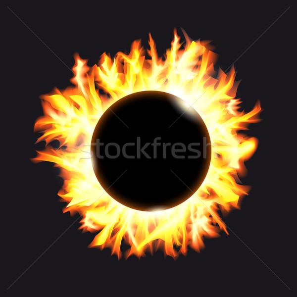 Solar eclipse. Frame of solar protuberances on a dark background Stock photo © OlgaYakovenko