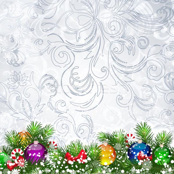 Natale albero di natale rami decorato vetro Foto d'archivio © OlgaYakovenko