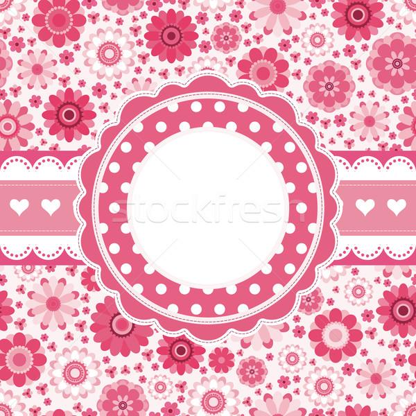 ピンク レトロな カード フローラル パターン シームレス ストックフォト © OlgaYakovenko