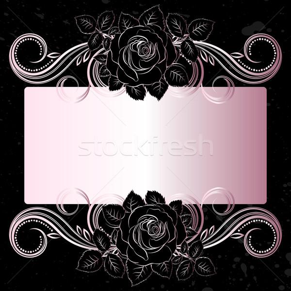 Vektor fekete sápadt rózsaszín virágok dekoráció Stock fotó © OlgaYakovenko