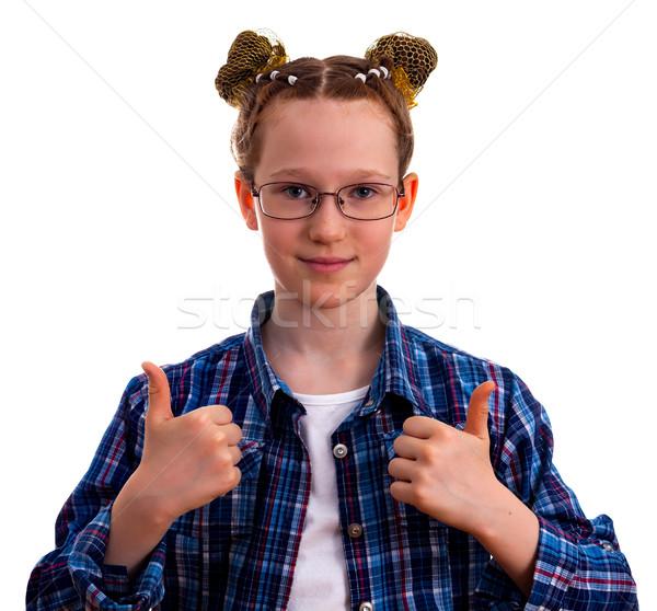 Cute peu Kid fille à carreaux shirt Photo stock © OlgaYakovenko