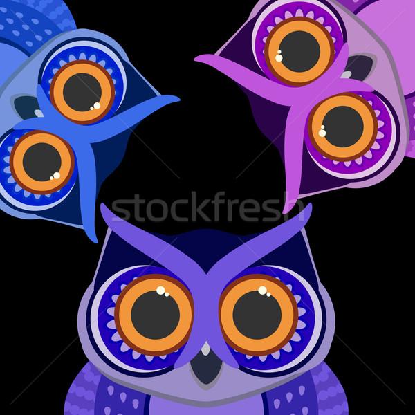 Owls birds on a scrap card. Vector background. Stock photo © OlgaYakovenko