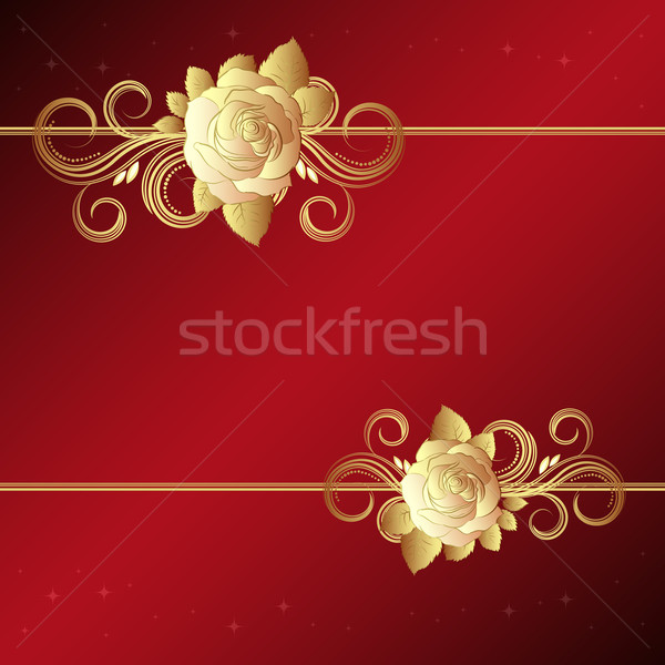 Valentine background with gold roses, vector illustration. Stock photo © OlgaYakovenko